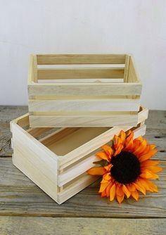 7.99 SALE PRICE! Use these Unfinished Wood Crates to elevate small plates and confections at your next event. Fill this set of two small crates with flowers ...