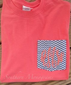Monogrammed Personalized FABRIC Pocket T Shirt Tshirt Tee Initials Coral Hot Pink Navy Lime Green Long or Short Sleeve - Chevron Fabric on Etsy, $24.99