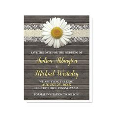 Rustic daisy wedding Save the Date cards with a white daisy flower centered at the top on a burlap and lace ribbon, over a dark brown country wood background.