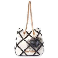 Betsey Johnson Blackwhite Cross Your Heart Drawstring Bag ($108) ❤ liked on Polyvore featuring bags, handbags, shoulder bags, convertible purse, white purse, drawstring shoulder bag, betsey johnson handbags and drawstring purse