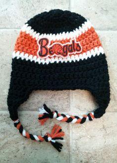 Crochet Cincinnati Bengals NFL Team Spirit Beanie by kimerin13. I like the  patch Crochet Beanie a8ab4fc7460c