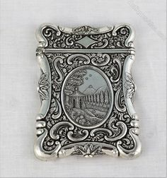 sterling silver castle top style card case antiques atlascom