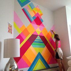 Geometric colorful wall painting playroom