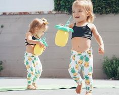 Matching in our Black Bralettes and Flexi Pineapple Tights Get your minis this cute outfit today link in bio Pic cred: Twin Baby Clothes, Twin Baby Gifts, Cute Twins, Cute Funny Babies, Baby Twins, Triplets, Baby Baby, Twin Girls Outfits, Cute Outfits For Kids