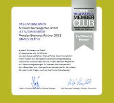 Employer Branding mit Auszeichnung –  Art Crash erhält Platin-Partner 2013 Zertifizierung von Monster