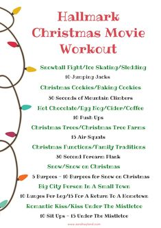 Cardio Workouts Hallmark Christmas Movie Workout - I love a good Hallmark Christmas movie. To make viewing more interesting, I put together a Hallmark Christmas Movie Workout - check it out and get moving! Tv Show Workouts, Fun Workouts, At Home Workouts, Tv Workout Games, Disney Workout, Elliptical Workouts, Workout Fun, Walking Workouts, Workout Plans