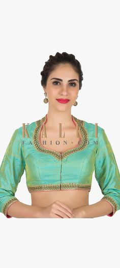 Green stitched blouse in raw silk featuring the zari embroidery work