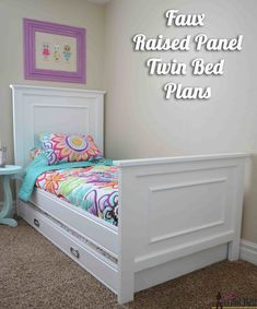 This twin bed is so easy to DIY. Add a little molding to create a faux raised panel look. Free twin bed plans and easy trundle bed plans. Awesome Woodworking Ideas, Woodworking For Kids, Easy Woodworking Projects, Woodworking Furniture, Diy Furniture, Woodworking Plans, Woodworking Videos, Furniture Makers, Wood Projects