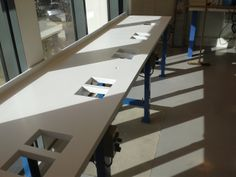 Corian work benches which will be used for a high profile watch makers. fabricated by Counter Production.