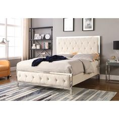 Add class and sophistication into any bedroom with this lovely Emory upholstered velour fabric with tufted buttoned look. The frame and legs are made of chrome. This bed will require a box spring/ foundation. The back of the bed is not upholstered. King Beds, Queen Beds, Headboard Shapes, Cal King Bedding, Water Bed, Brown Furniture, Bedroom Furniture, Types Of Beds, Built In Desk