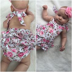 Cotton ruffle bum romper and floral headband ON SALE...Ruffle romper..baby girl clothes...romper... Hospital outfit by Ellasbows on Etsy https://www.etsy.com/listing/267142508/cotton-ruffle-bum-romper-and-floral