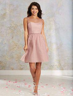 Alfred Angelo Style 8628S: Cocktail length short bridesmaid dress with a sheer yoke, beaded trim and a softly gathered skirt