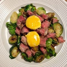 Dinner time! Egg yolks over grass fed bison and sautéed Brussels sprouts. Amazing!! #dinner #food #nofilter #cleaneating #eatrealfood #wholefoods #whole30 #weightloss #loseweight #paleo #primal #lchf #ketogenic #fitness #healthy