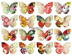 butterflies clipart clip art Printable Download Digital Collage Sheet flowers wings jpg png image transfer tag label wall art decor fabric