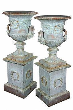 Relics Sculpture Motifs for the Home niche fillers A pair of antique verdigris finish Grecian urns later patinated by Unknown Lot Number 68 Mossgreen Auctions Art Aucti. Container Plants, Container Gardening, Statues, Pot Jardin, Urn Planters, Garden Urns, Australian Art, Garden Ornaments, Decorative Objects