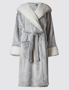 Luxury Hooded Shimmer Dressing Gown | M&S