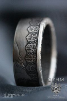 SILVER Handcrafted Coin Ring - 1964 Italian .500 Lire coin - Size 10.5  - Can Re-size!! on Etsy, $65.00