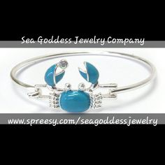 Inspired by my love of Sea Life,  this Blue Crab Bangle Bracelet is the perfect way to show your love for the sea or bring out your inner 'crabby' 🦀    Choose 1 bracelet for $9.99 or 2 bracelets for $16.99.  The crab measures 3/4 x 3/4 inches, diameter 2 1/2 inches.  Bracelet will fit a 6 to 7 & 1/2 in wrist comfortably. | Shop this product here: http://spreesy.com/seagoddessjewelry/148 | Shop all of our products at http://spreesy.com/seagoddessjewelry    | Pinterest selling powered by…