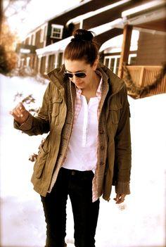 cargo jacket__tweed blazer__pink gingham button down__white henley tee__black skinny jeans__layered