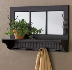 Country Southport Wall Shelf With Hooks In Black Wood By Park Designs