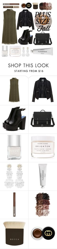 """Olive Fall, don't you?"" by jennifer-de-la-o ❤ liked on Polyvore featuring Elvi, Zizzi, Nails Inc., Herbivore, Simone Rocha, Byredo, Urban Decay, LORAC, Becca and Gucci"