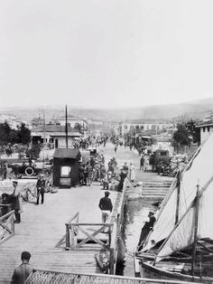 A view of Salonika seen from the piers on the Agean Sea. One of a series of photographs taken by Lieutenant William James of the Australian War Records Section. Greece Pictures, Old Pictures, Old Photos, Williams James, Thessaloniki, Paris Skyline, The Past, Street View, Boat