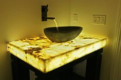 Backlit Onyx Countertop contemporary