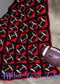 Touchdown Football Crochet Throw by MetalYarnYak on Etsy