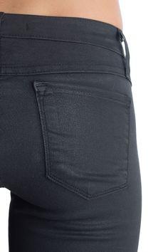 Oil Coated Black Stitch Skinny Jeans