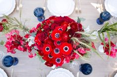 of July Photoshoot. Kaysha Weiner Photography//Florals by Jenny Flower Decorations, Table Decorations, Anemones, Ranunculus, Wedding Centerpieces, 4th Of July, Wedding Flowers, Sweet Peas, Create