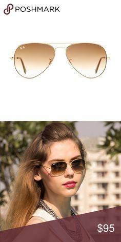 Ray-Ban Aviator Sunglasses Gold Brown Gradient HP Iconic Ray-Ban Aviator Sunglasses with shiny gold metal frame and brown gradient lenses, large. Made in Italy, authentic, come with original brown leather case, cloth and box. Host pick 08/20/2017💕🕶🙈 Ray-Ban Accessories Sunglasses