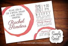 Wine Glass Stain Bridal Shower Invitation PRINTABLE