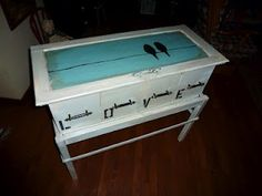 Made out of a bench and several drawers.......gorgeous!