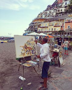 🐉 painting is silent poetry and poetry is painting that speaks. Positano, Amalfi Coast, Poetry, Italy, Beach, Instagram Posts, Travel, Painting, Art