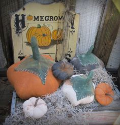Primitive Farmers Field Pumpkins For Fall Decor $28.00 on etsy
