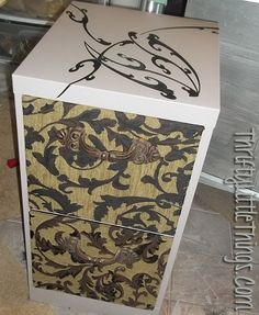 Thrifty Little Things: Old Metal File Cabinet Makeover with Paint, Vinyl Decals, Fabric and Vintage Cast Iron Drawer Pulls