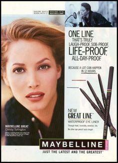 1996 Glamour Ad for Maybelline Christy Turlington Beauty Ad, Beauty Photos, Beauty Room, Vintage Makeup, Vintage Beauty, Vintage Ads, Erin Wasson, Christy Turlington, Mascara