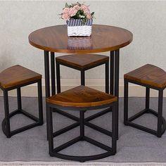 创意实木小圆桌椅省空间好收纳餐桌椅组合休闲桌小户型餐桌椅-淘宝网