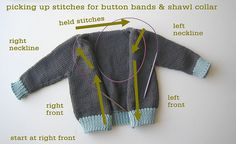 Sweater Techniques Series – Gramps Baby Cardigan – 5 / 6 : Shawl Collar and Button Band Crochet Baby Cardigan, Crochet Baby Booties, Knit Crochet, Crochet Hats, Baby Knitting Patterns, Knitting Stitches, Baby Patterns, Knitting For Charity, Baby Sweaters