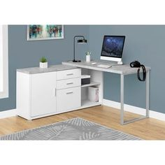 """Computer Desk - White / Cement-Look Left/Right Face - Monarch Specialties simple yet practical """"L"""" shaped desk will be the perfect addition to your home office. This white finished desk with a grey cement-look top can be configured on the"""