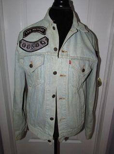 Vintage Levi s Denim Jacket With Led Zeppelin Custom Airbrush Swan Song  Back S 5184deb0af1