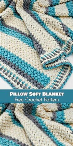 Pillow Soft Blanket [Free Crochet Pattern] Pillow Soft Baby Blanket Throw as well! Pillow Soft Blanket [Free Crochet Pattern] Pillow Soft Baby Blanket Throw as well! Crochet Afghans, Motifs Afghans, Crochet Pillow, Baby Blanket Crochet, Crochet Stitches, Crochet Baby, Crochet Blankets, Afghan Blanket, Ripple Afghan