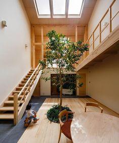 Tatami Room, Patio Grande, Glazed Walls, Indoor Trees, Indoor Plants, Internal Courtyard, Japanese Interior, Asian Interior, Interior Garden