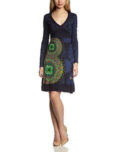 Desigual Damen Kleid VEST_MARSELLA, Knielang, Gr. 40 (Herstellergröße: L), Blau (MARINO 5001)