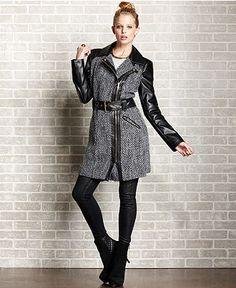 Baby Phat Juniors Coat, Tweed Faux-Leather-Sleeve Trench Coat - - Macy's