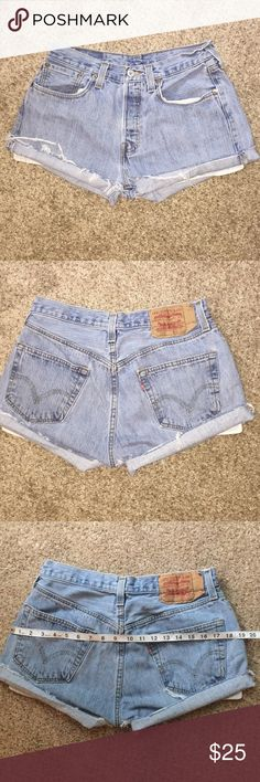 """Vtg Levi's 501 high waist cutoff shorts waist 29"""" vintage Levi's 501 high waist cutoff jean shorts 90s Listed as modern day waist measurement 29""""rise 10""""retro tag 31"""" button closure no zip - comes just up to belly button not super high & short but not cheeky cover🍑 ends distressed cuff can be ironed. Possibly men's jeans originally Levi's redone distressed shorts👉🏼Im a thicker sz 2 fit loose relaxed 4 me not falling off could fit 4/6 if measurements do not exceed compare measurements…"""