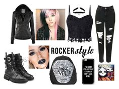 """""""My rocker style outfit"""" by maura2002mooney on Polyvore featuring Topshop, Lipsy, Giuseppe Zanotti, Casetify, rockerchic and rockerstyle"""