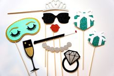 Bridal Shower Photo Booth Prop Set  10 piece set  por TheManicMoose, $35.00