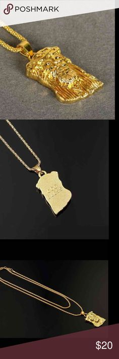 New 18k gold plate necklace 18K Real Gold Plated Iced Out Jesus Pendant Simulated Diamond Hip-Hop Chain Statement Necklace Bling Jewelry For Men   24 grams 80 sm.   Will Not Tarnish or Fade  ✨Each product is of the High Quality✨  ✨Check my other listing, maybe you'll get a surprise with a lower price. Good luck.✨  ✨FREE ✨FAST ✨SHIPPING ✨   ❤️Thank you for shopping ❤️ Jewelry Necklaces