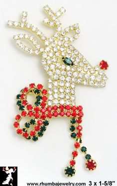 Christmas Pin: Rhinestone Rudolph Red Nosed Reindeer Pin - Antique & Collectible Exchange